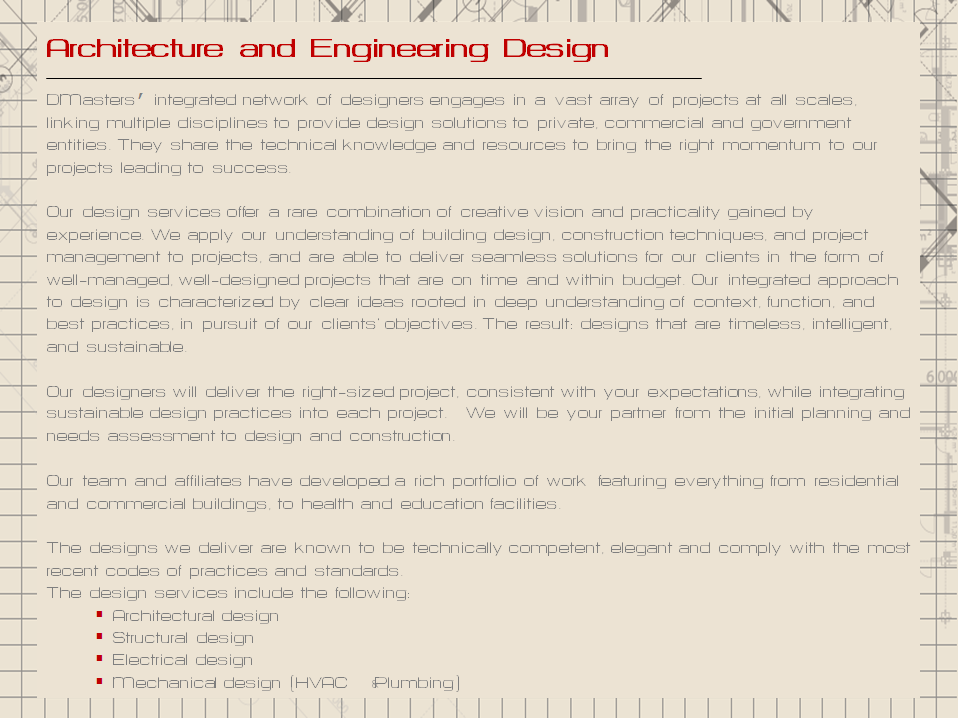 Architecture engineering design d masters for Designer east architectural engineering design consultants company